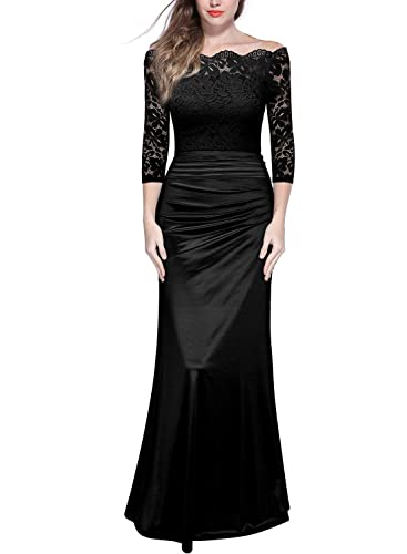 MIUSOL Womens Off Shoulder Lace Pleated Long Wedding Dress