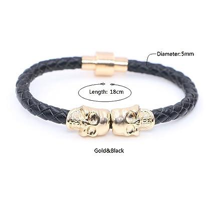5272cb9bb92a Hecho a mano piel auténtica cuerda trenzada oro esqueleto calavera pulsera  pulsera para hombres mujeres regalo