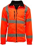 New Mens Hi Vis Fleece Jacket Heavyweight 300g Full Zip Warm 2 Side Pockets Work EN471 Reflective Tape Safety High Viz Work Workwear Walking Comfortable Casual Warm ORANGE