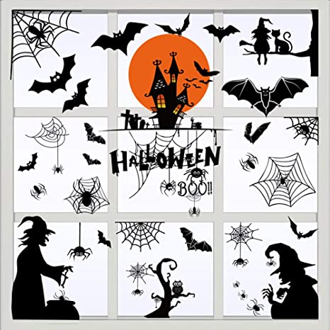 Halloween Decor Window Clings 4 sheets Glow in Dark Decal Decorations