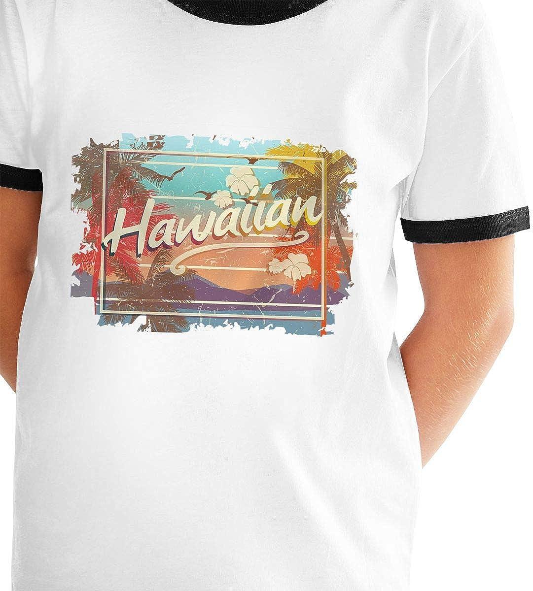 Kids Or Little Boys and Girls Hawaiian Islands Art Design Unisex Childrens Short Sleeve T-Shirt