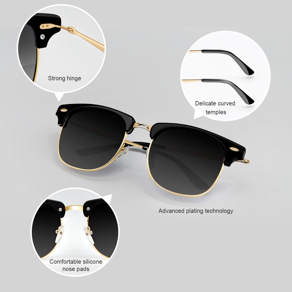 Polarized Sunglasses, Veroyi 8033-C2 Classic Semi-rimless Sun Glasses with HD Polarized Lens for Men, Women, UV400 Protection, Metal Frame & Temple.