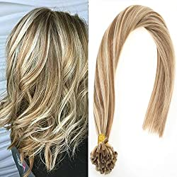Sunny 20inch U Tip Fusion Extensions Remy Human Hair Color Light Brown Highlight Blonde 1g/s Pre Bonded Nail Tip Human Hair Extensions 50g/Set