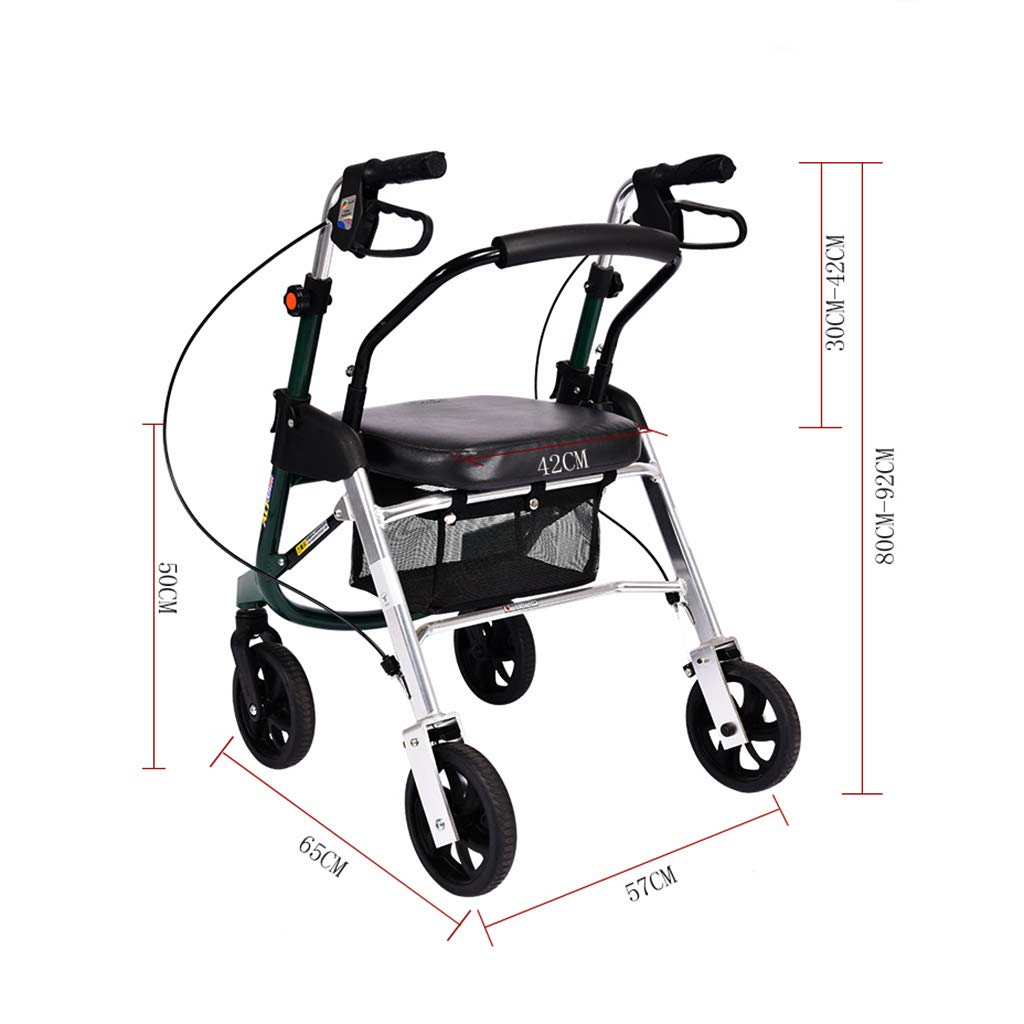 RenShiMinShop Knee Pads Older Step-by-Step Shopping cart Trolley Shopping Scooter Four-Wheeled Walker Elderly Walker can sit Folding Collapsible Shopping cart (Color : Silver, Size : 65cm57cm80cm)