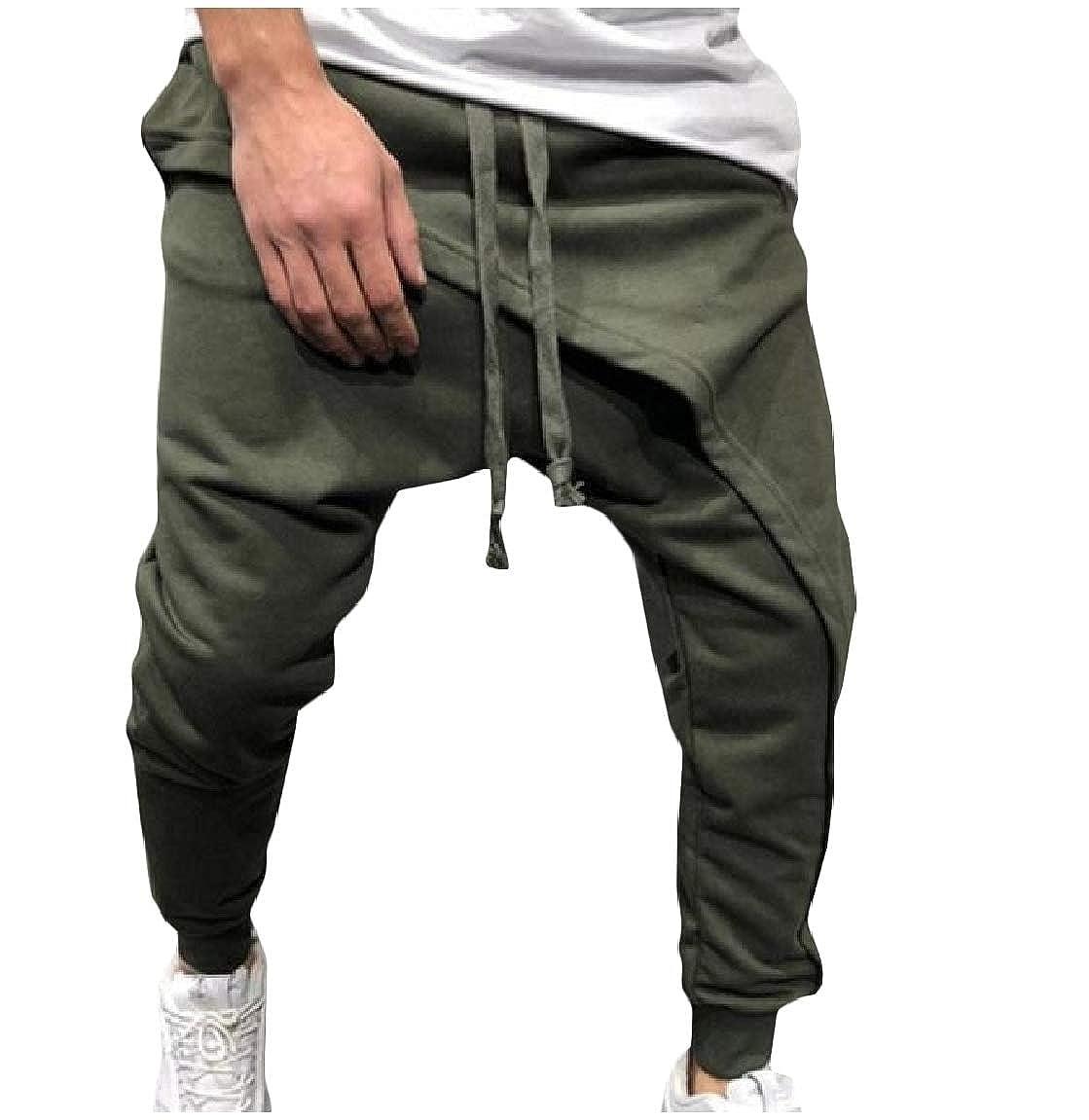 Mirrliy Mens Drawstring Hip Hop Mid Waist Stitch Pure Colour Jogger Pants
