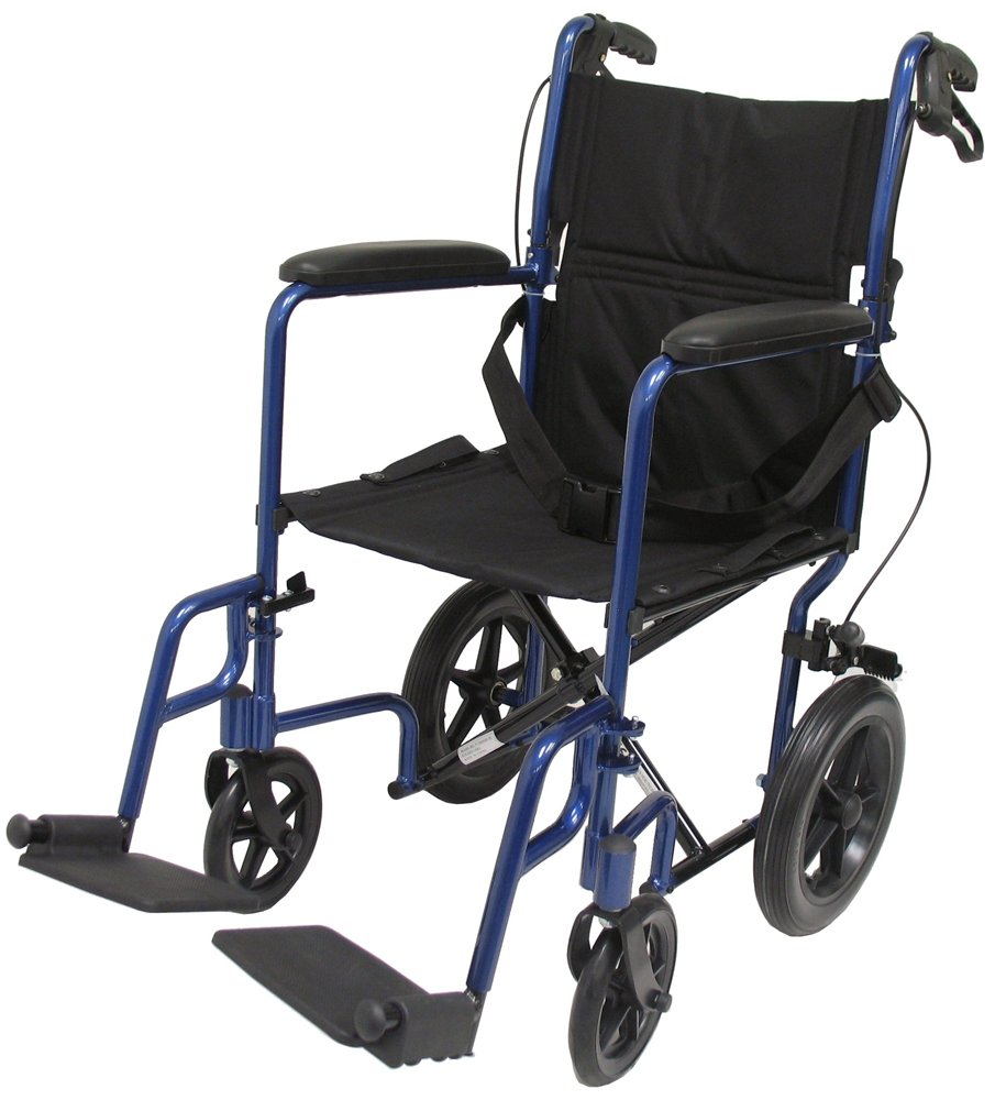 Karman Healthcare LT-1000HB-BL Folding Aluminum Transport Chair with Companion Brakes, Blue, 19 Inches Seat Width