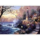 Blxecky 5D DIY Diamond Painting ,By Number Kits Crafts & Sewing Cross Stitch,Wall stickers for living room decoration,lighthouse(35X45CM/14X18inch)