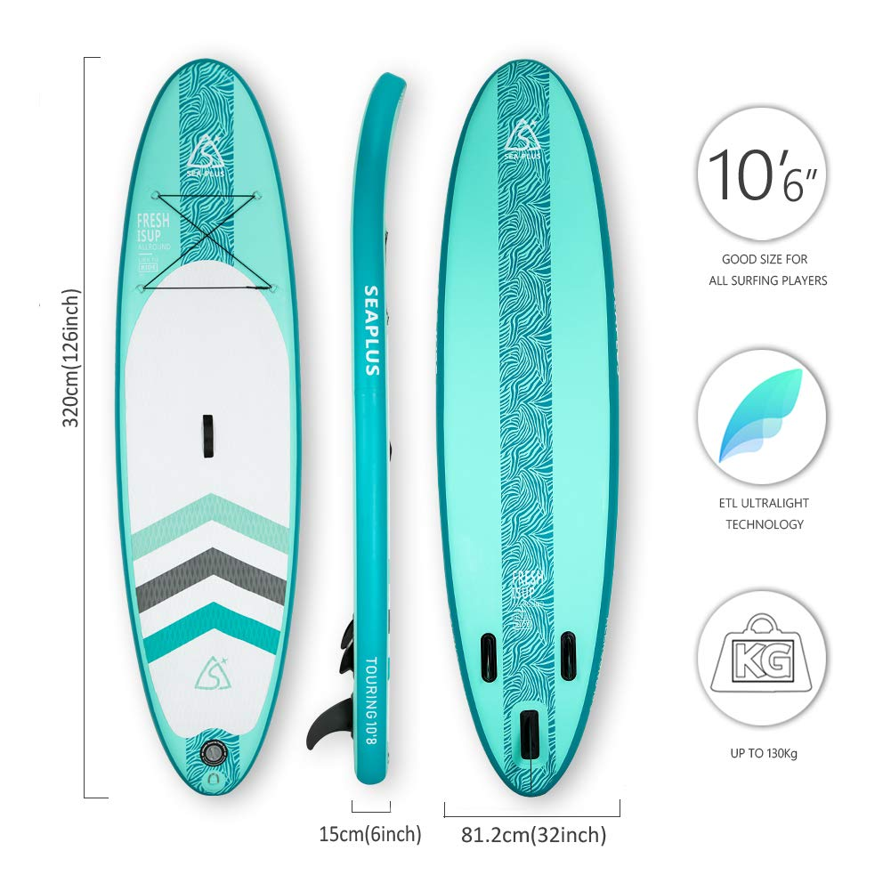 Tabla de Paddle Surf Hinchable Tabla Stand Up Paddle Board Rígida Doble Capa con Accesorios de Remo de Aluminio/Inflador/Leash/Mochila, Carga hasta ...