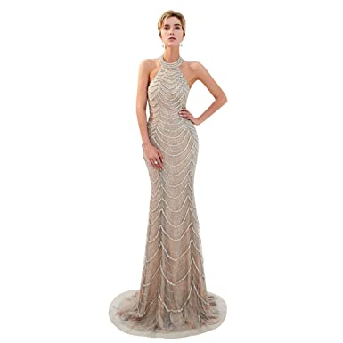 8a2007ad156 Trendership Women s Sexy Halter Neck Backless Long Mermaid Sequin Lace  Evening Dress at Amazon Women s Clothing store