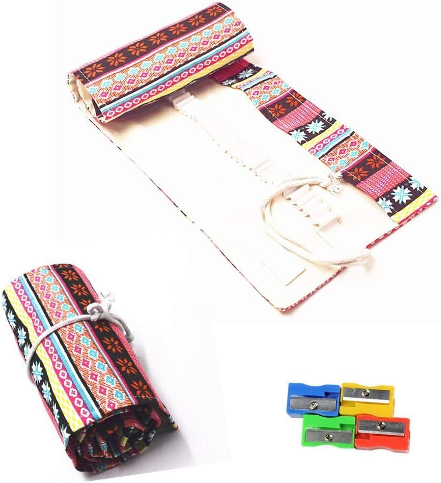 Estuche para lápices Raylinedo® de tela enrollable con 36 orificios para lápices, color rosa, estilo bohemio , Rosa, 36 Holes: Amazon.es: Hogar