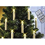 Top Race LIT10 Battery Powered Remote Control LED Christmas Tree Taper Candles with Clip, Pack of 10, White