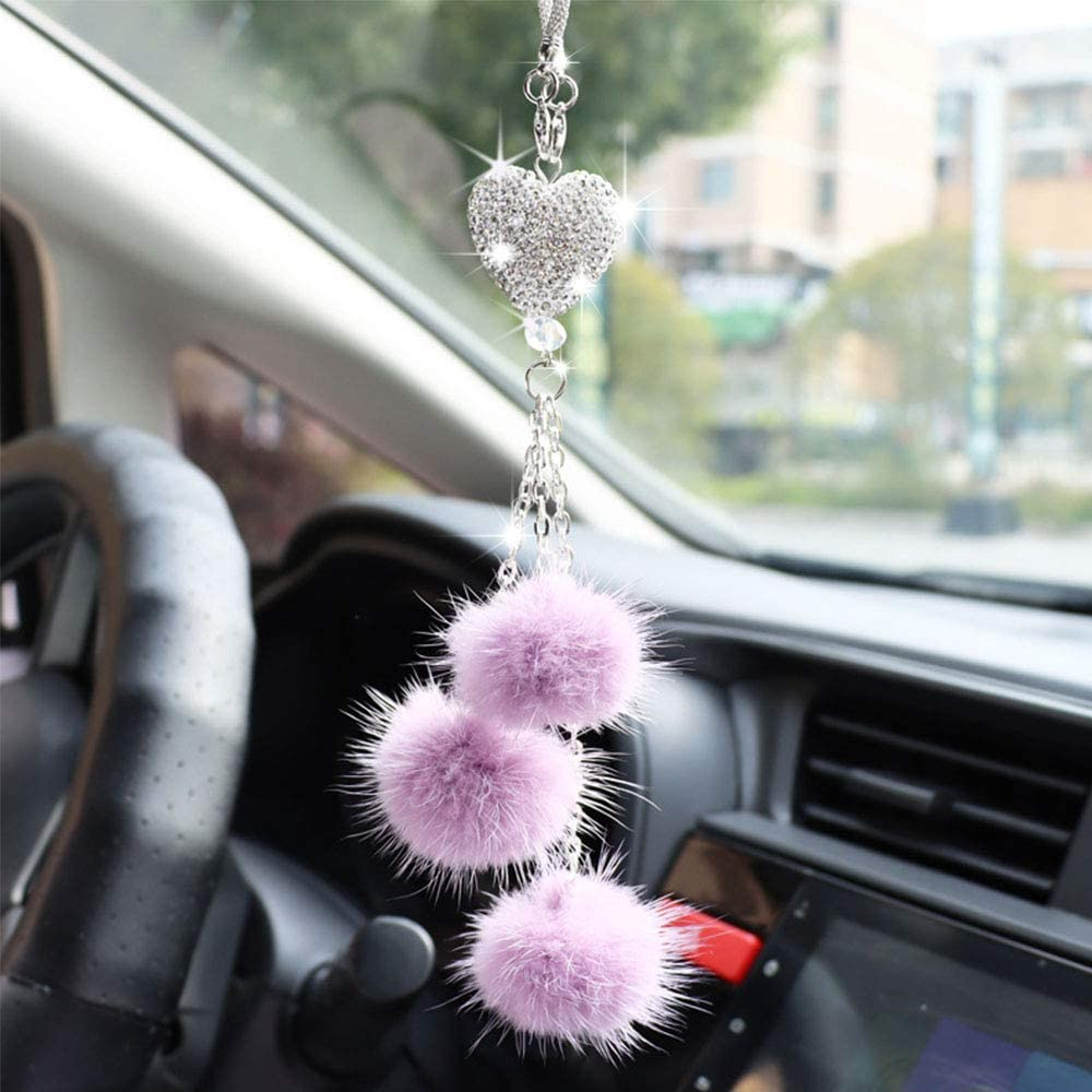 Bling White Heart and Pink Fuzzy Drops Bling Rinestones Diamond Car Accessories Crystal Car Rear View Mirror Charms,Lucky Interior Accessories Purple PASWAY Bling Car Accessories for Women and Men