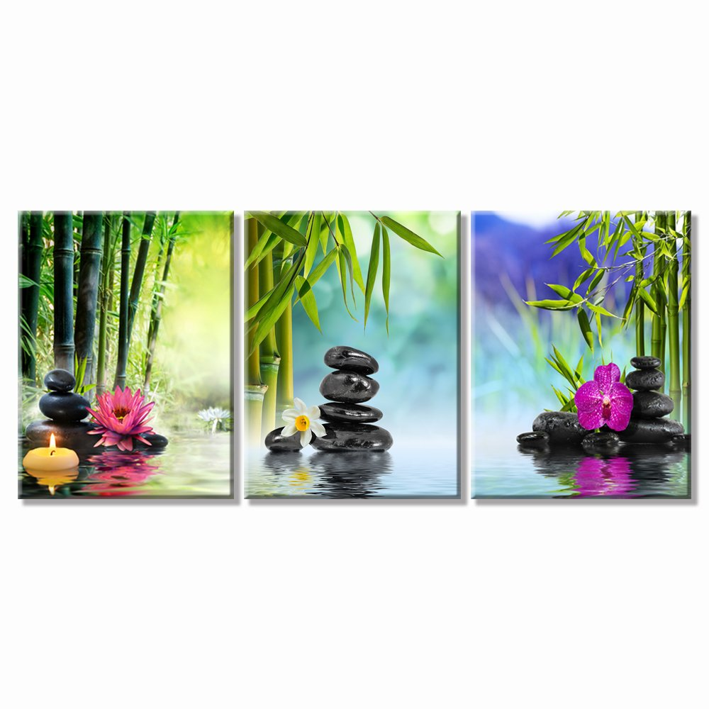 SPA Stone Green Bamboo Pink Waterlily and Frangipani Pictures on Canvas Wall Art Framed Modern Decor Paintings Artwork for Home Decoration