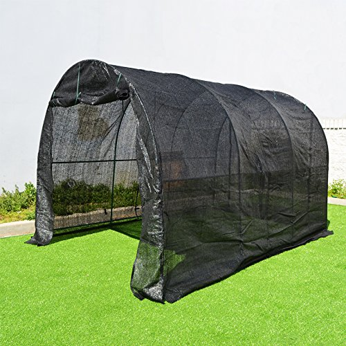 BenefitUSA Large Green House Walk In Garden Greenhouse Outdoor Canopy Gazebo Plant House (12'X7'X7′, Black)