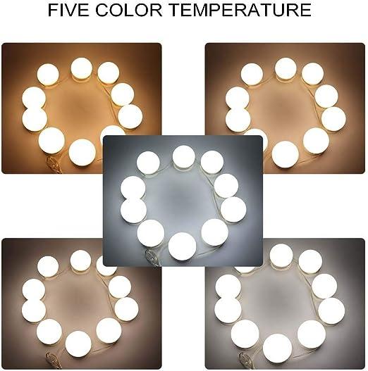 10 Bombillas LED y 5 Temperatura de Color para decoraci/ón de Fiestas Tocador de Maquillaje Ba/ño Pongnas Luces de Espejo de vanidad Estilo Hollywood Espejo de Maquillaje Luces LED Regulables