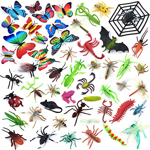 Coopay 51 Pieces Plastic Insect Figures Toys Assorted Insect Bugs Includes Multicolored Lifelike Butterfly for Children Education, Insect Themed Party, Halloween Toys and Birthday Gifts -