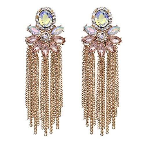 - RIAH FASHION Sparkly Rhinestone Chandelier Drop Statement Earrings - Bridal Wedding Crystal Cubic Zirconia Dangles Cascade, Teardrop, Fringe Tassel, Waterfall Duster (Flower Chain Tassel - Gold)