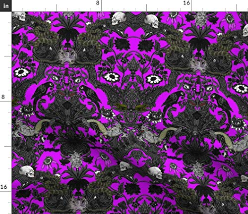 Haunted Fabric - Spooky Halloween Goth Purple Damask Skull by Peacoquettedesigns Printed on Petal Signature Cotton Fabric by The Yard]()