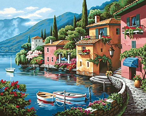 DIY Oil Painting Newsight Paintworks Paint By Number for Kids and Adults (lakeside Village) (Kit Village)