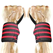 Wrist Wraps, Peyou 18'' Premium Adjustable [1 Pair /2 Pack] Weight Lifting Training Wrist Straps Support Braces Wraps Belt Protector with Thumb Loops for Powerlifting & Crossfit Bodybuilding & Weight Lifting & Strength Training & Workout & Gym -- Size fits for all Men & Women