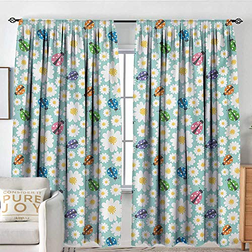 - Blackout Thermal Insulated Window Curtain Valance Ladybugs,Colorful Daisies and Ladybirds Image Good Luck Charm Discover Your True Self Concept,Multi,Rod Pocket Valances 54