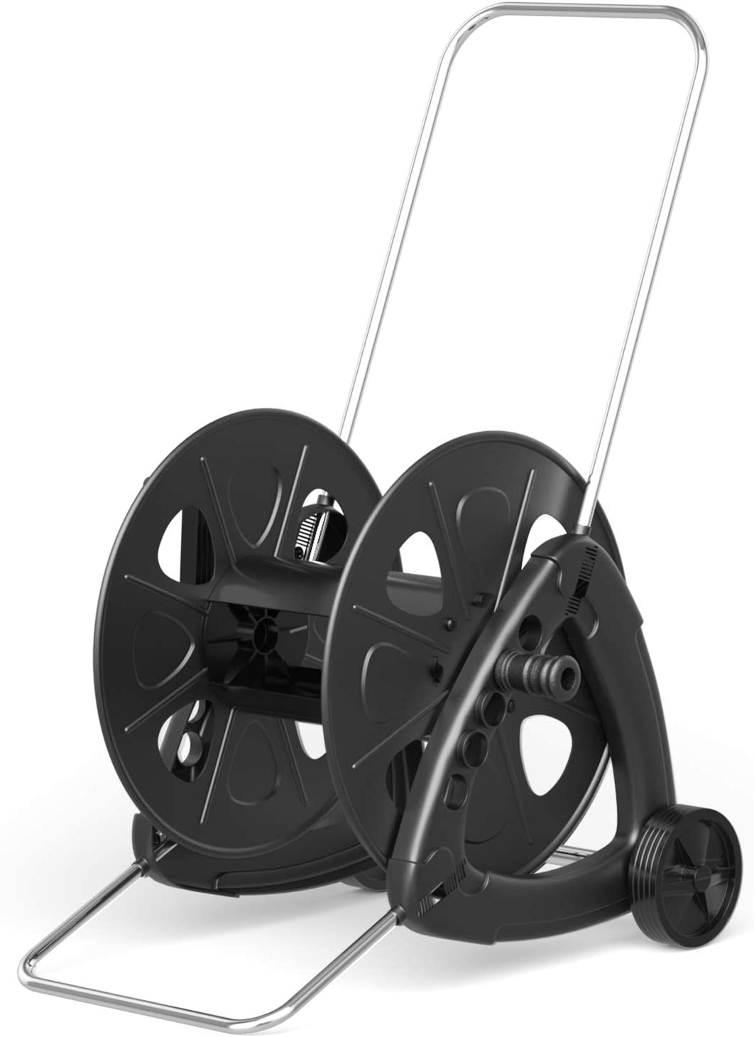 Goplus Wheeled Hose Reel Cart for Garden Patio Lawn, Hose Storage Cart w/Quick Connectors and Adjustable Nozzle, Max 328ft Capacity, Made in Italy