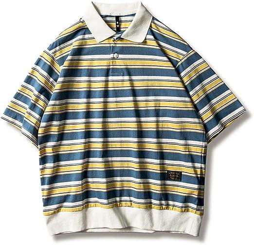 Susulv Manga Corta Camisa Polo a Rayas de Manga Corta for Hombre, de Manga Corta, de algodón Suelto for niños de los Estudiantes Playera Playera (Color : Azul, tamaño : Metro): Amazon.es: