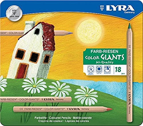 (Lyra Color-Giants Unlacquered Colored Pencils, 6.25 Millimeter Cores, Set of 18 in Tin Case, Assorted Colors)