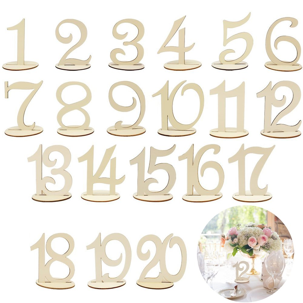 KINDPMA Wedding Table Numbers 1-20 Wooden Table Number with Sturdy Holder Base Painting for Party Baby Shower Banquet Anniversary Home Catering Decor by KINDPMA