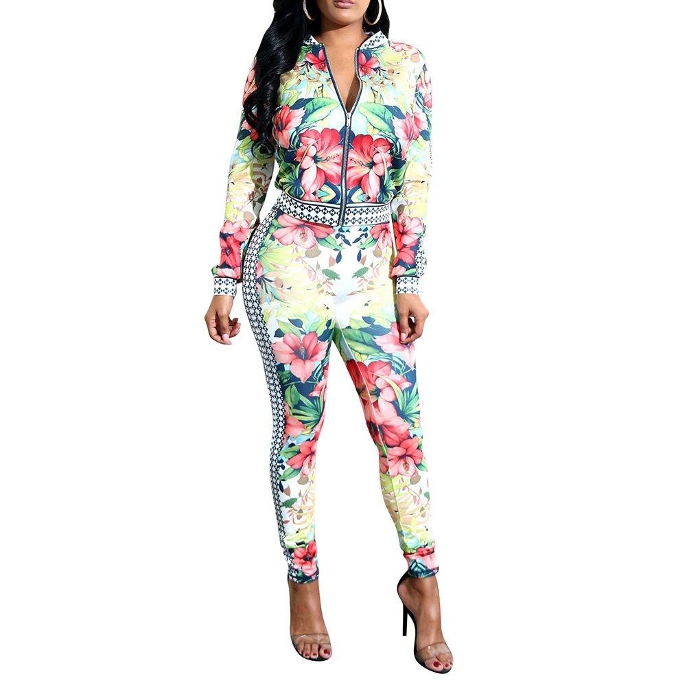 Sherro Women's Sexy 2 Piece Outfits Floral Print Jacket Suit Bodycon Pants Sweatsuits Set Tracksuits