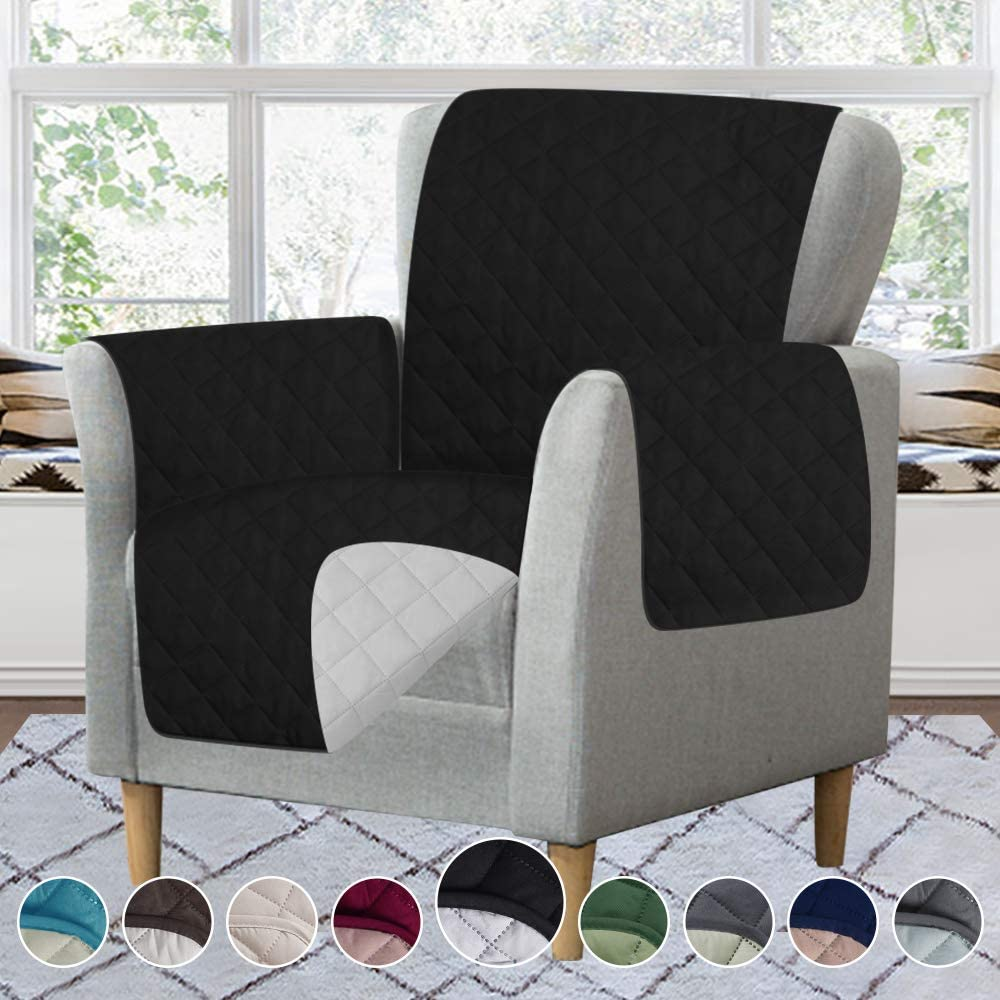 RHF Reversible Chair Cover, Chair Cover, Chair Cover for Dogs, Pet Cover for Chair, Chair Slipcover, Chair Protector, Machine Washable, Double Diamond Quilted (Chair: Black/Gray)