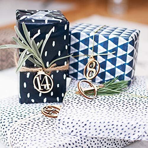 Calendrier de lAvent Attaches Vimbhzlvigour Th/ème de No/ël DIY Autocollantes Bois vintage Num/érot/ées de 1 /à 25 /Étiquettes pour cadeaux