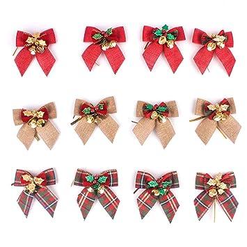 Amazon Yjbear 12 Pcs Linen Christmas Tree Bowknot Ornament With