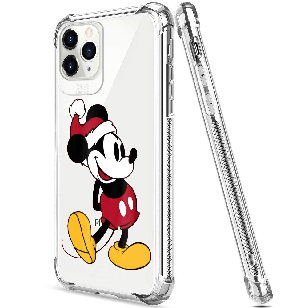 DISNEY COLLECTION iPhone 11 Pro Max Case 2019 6.5 Inch Christmas Mickey Soft Flexible TPU Ultra-Thin Shockproof Transparent Bumper Protective Cover Case