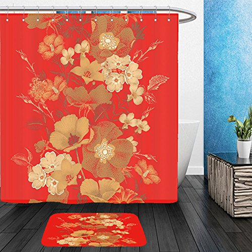 Vanfan Bathroom 2Suits 1 Shower Curtains & 1 Floor Mats seamless vector pattern of garden flowers in style of chinese lacquer miniature gold plants on red 378085975 From Bath room - Echelon Echelon Shower Locker