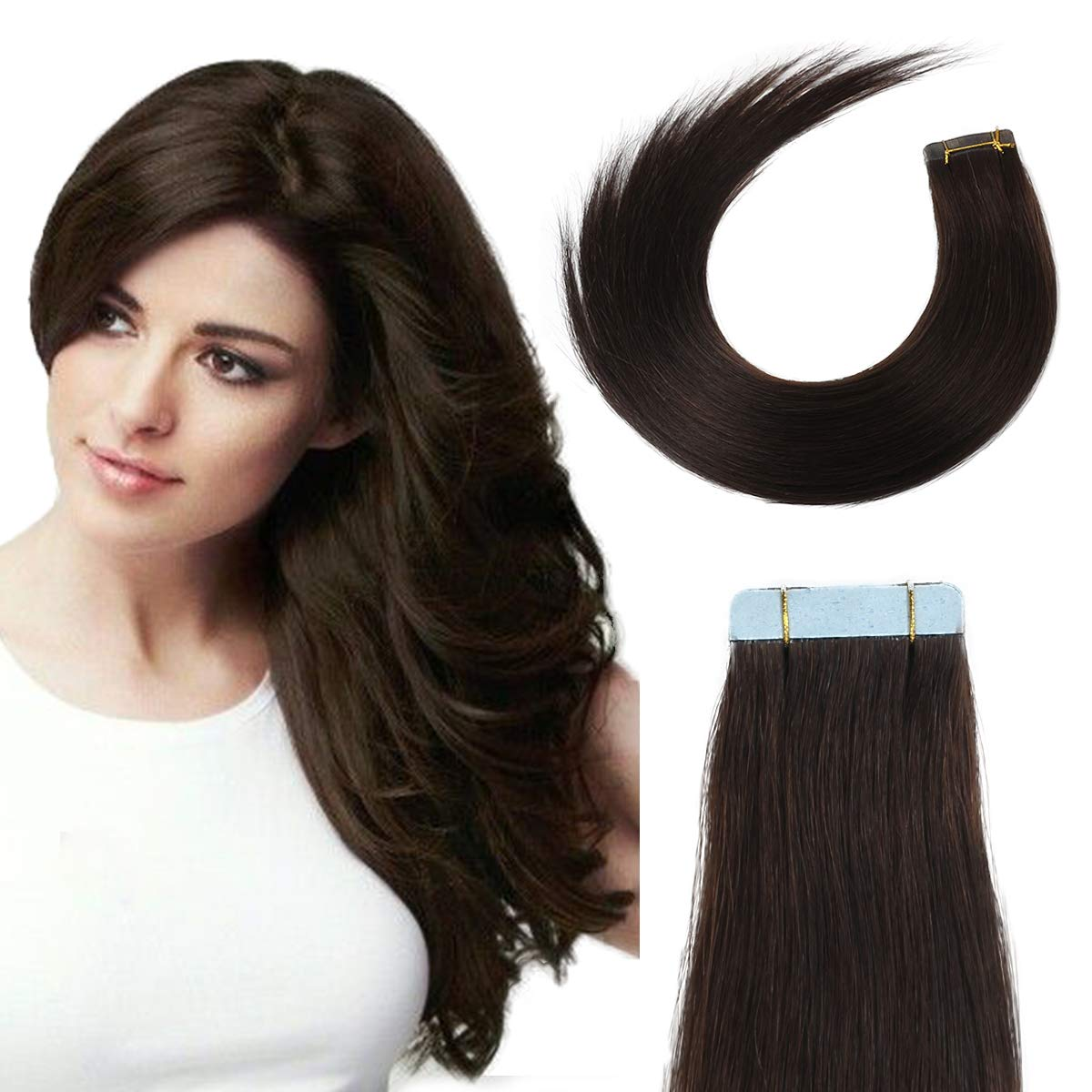 Tape in Hair Extensions Human Hair 16 inch 40g/pack 20pcs Seamless Skin Weft Remy Straight Hair 2# Dark Brown ... by BEAUTY ON LINE