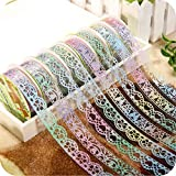AKOAK 6 Rolls 1.8cm Bud Silk Stationery Stickers Glittery Hollow Out Lace Tape Colorful Decoration Masking Tape DIY Sticker Scrapbooking Tools