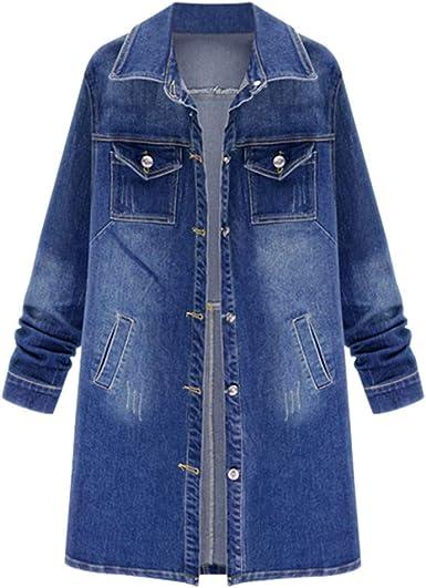 JERFER Abrigo Largo Retro Mujer Casual Flojo Oversize Jeans ...