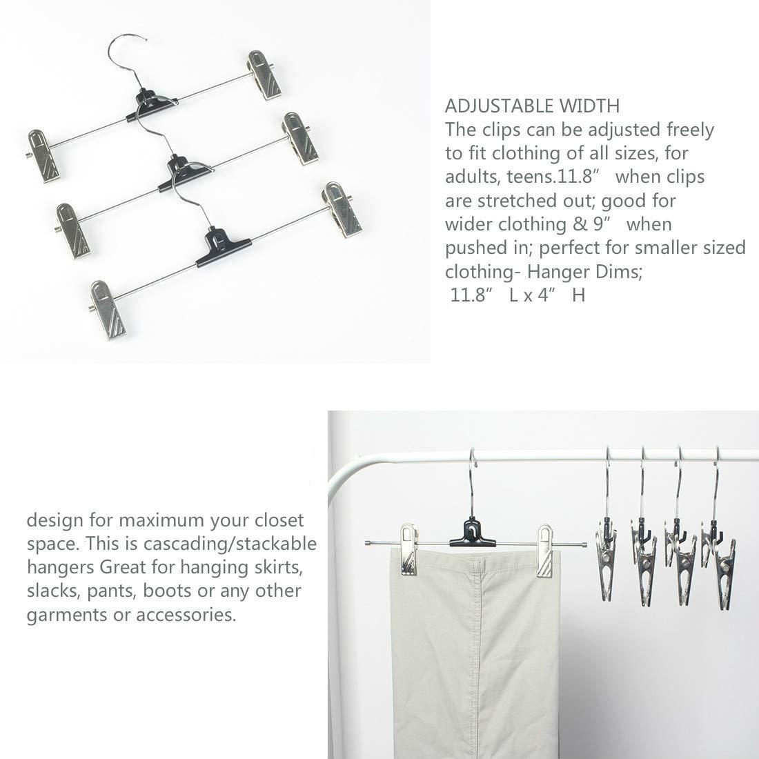 Hook 10 Pack Jeans//Skirt Hanger Bottoms Hangers Pants Hangers with Metal Clips Grip Clip Pants Hanger Skirts Slacks Clip Hanger for Pant