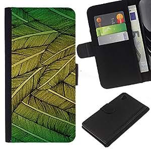 Sony Xperia Z4 / Sony Xperia Z4V / E6508 , la tarjeta de Crédito Slots PU Funda de cuero Monedero caso cubierta de piel ( Feathers Green Nature Art Bird Flying Tree)