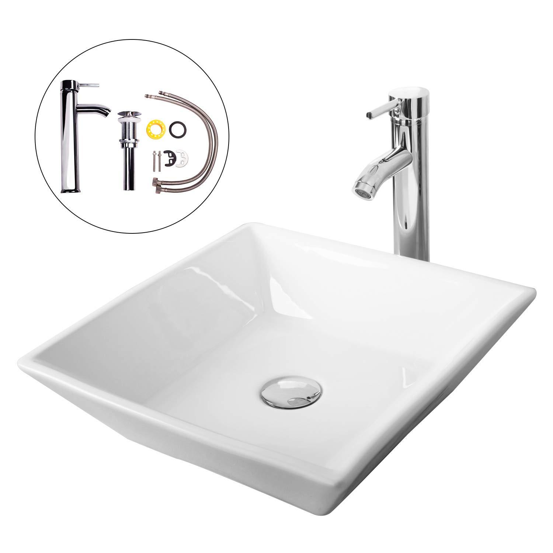 Walcut USBR1029 Bathroom Luxury White Art Lavatory Porcelain Ceramic Square Vessel Sink Vanity Sink and Chrome Faucet/Chrome Pop Up Drain