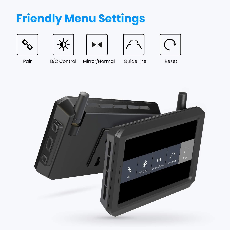 AUTO-VOX W7 C/ámara de marcha atr/ás digital inal/ámbrica con monitor LCD de 5 pulgadas IP68 resistente al agua c/ámara de visi/ón trasera estable