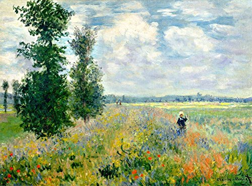 Canvas Art Print Reproduction Unmounted - 120X90cm (Approx. 48X36inch) Poppy Field Argenteuil 1875 by Claude Monet - Landscapes Paintings Giclee Picture Artwork Wall ()