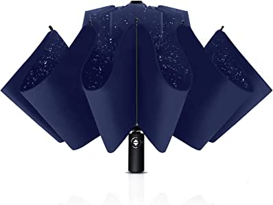 Bodyguard Inverted Windproof Umbrella with Teflon Coating 10 Ribs Auto Open and Close Travel Umbrella Portable Reverse Umbrellas with Leather Cover