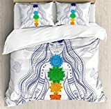 Chakra Twin Duvet Cover Sets 4 Piece Bedding Set Bedspread with 2 Pillow Sham, Flat Sheet for Adult/Kids/Teens, Spiritual Girl in Lotus with Colorful Chakra Stones Yoga Meditation Relax Zen Theme