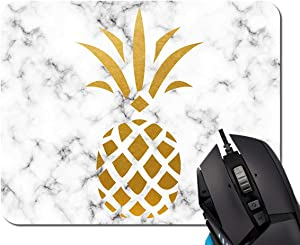 Mouse Pad,Gold Pineapple White Marble Mouse Pad Rectangle Non-Slip Rubber Mousepad Office Accessories Desk Decor Mouse Pads for Computers Laptop