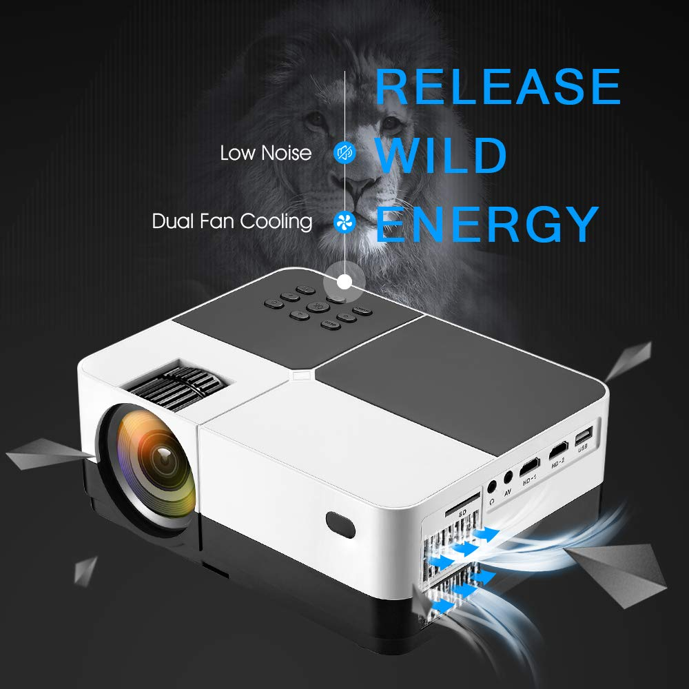 Wsiiroon LED Projector, 2019 Newest Outdoor Portable Movie Video Projector, Home Theater LCD Projector Support 1080P HDMI VGA AV USB SD with 170'' Display - 45,000 Hrs by wsiiroon (Image #5)