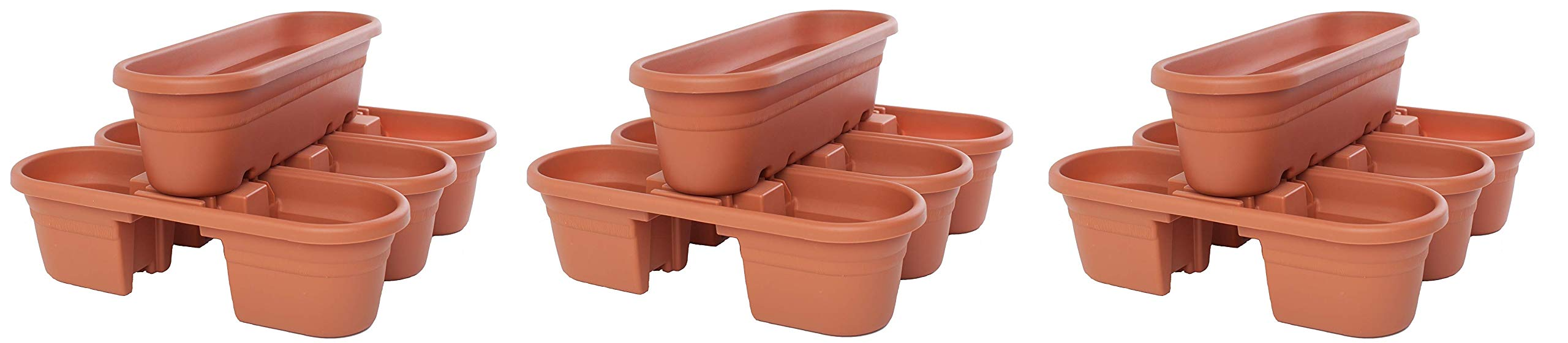 Bloem MRP421-46 Milano Rail Planters, Terra Cotta, 21'' (4-Piece) (Pack of 3)