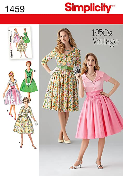 1950s Fabrics & Colors in Fashion  1950s Vintage Dress U5 (16-18-20-22-24)                               $8.99 AT vintagedancer.com