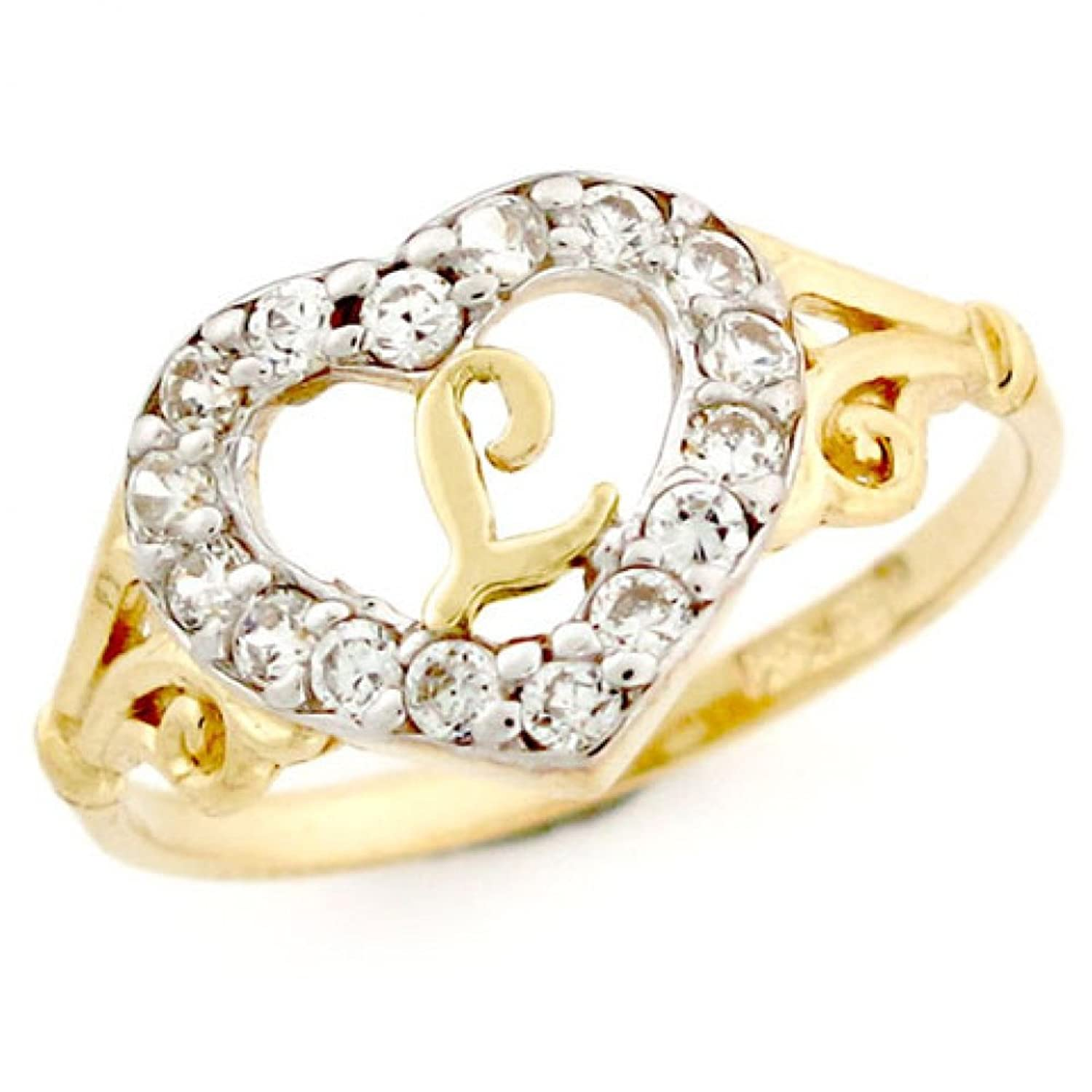 14k Gold Heart Shape Letter 'l' Initial CZ Ring Jewelry
